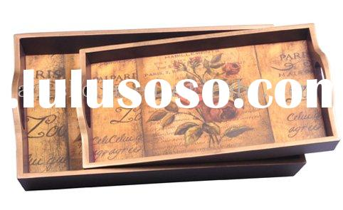 Antique MDF Wood Serving Tray(With Rose Pattern)