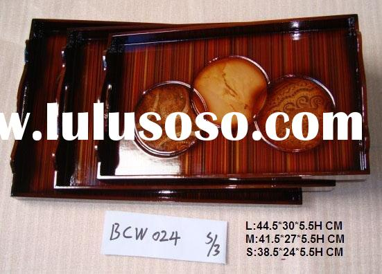 Brown Wooden Serving Tray for Food