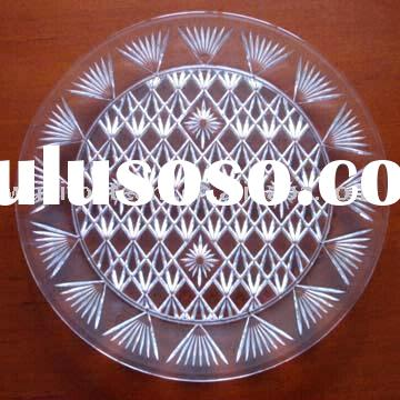 Crystal Plastic Round Tray (With Diamond Cut Design)