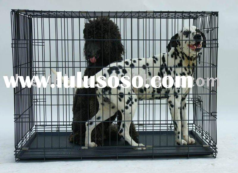 Folding 2 doors Dog Crate with Plastic Tray