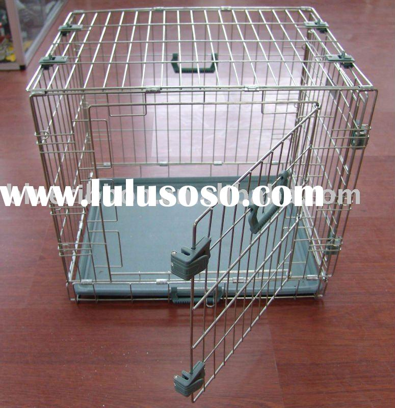 Heavy Duty Dog Cage with Black Plastic Tray