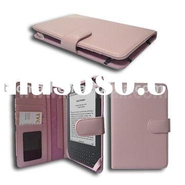 Pink Leather Flip Case for Amazon Kindle 3 3G Wi-Fi (Wallet Style)