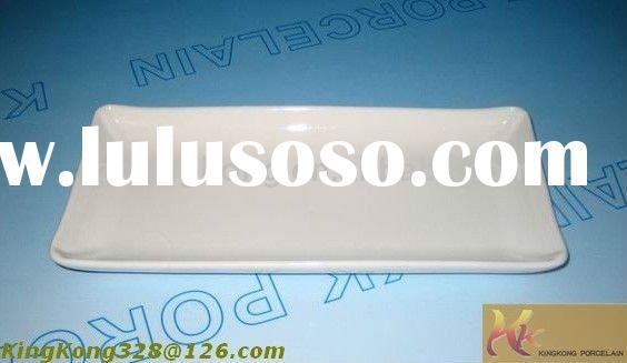 Porcelain rectangle white plate for hot sale