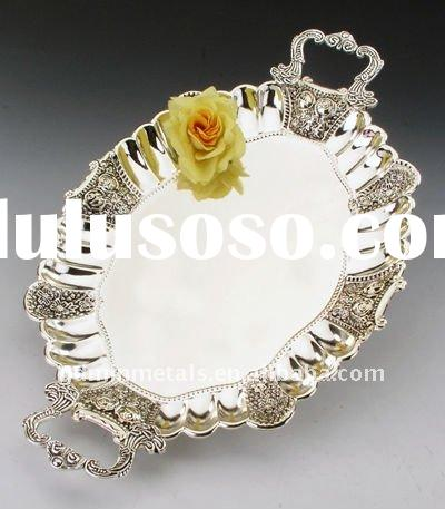 Serving Tray (Antique Silver Plated, with Handles, Available in 2 Sizes)