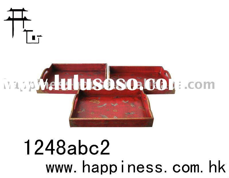 antique leather serving tray set
