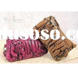 charming rose snake grain women fashion leather wrist bag SWB104