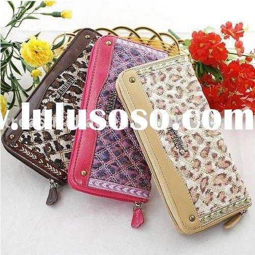 flower series checked stitch fashion women wallet long QB1710L