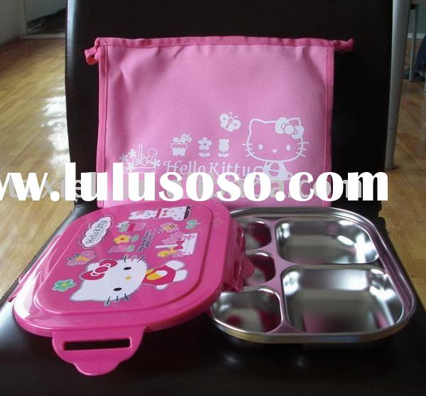 hello kitty child lunch box,children meal box,stainless food tray