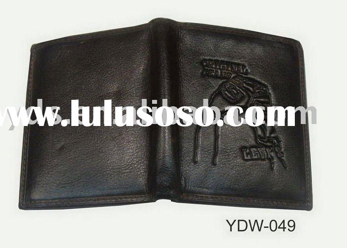 high quality black real leather wallet for men