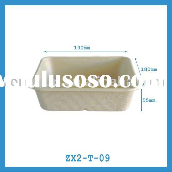 oblong biodegradable disposable bagasse paper food tray for meat/fruit/food