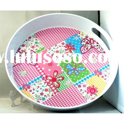 round melamine tray with two handle