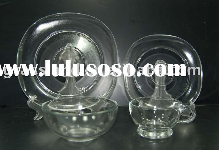 set of clear glass plate & bowl