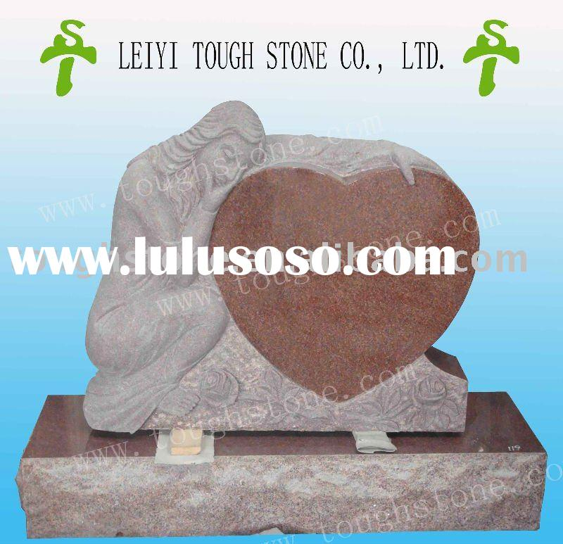 ANGEL DESIGN TOMBSTONES AND MONUMENTS WITH POLISHED HEART