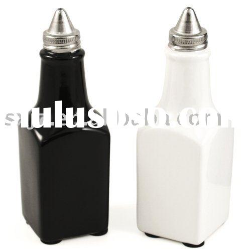 Black White Ceramic Vintage Oil & Vinegar Bottle Set
