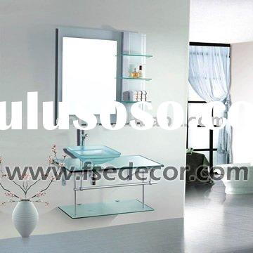 Glass sink vanity with stainless steel bracket