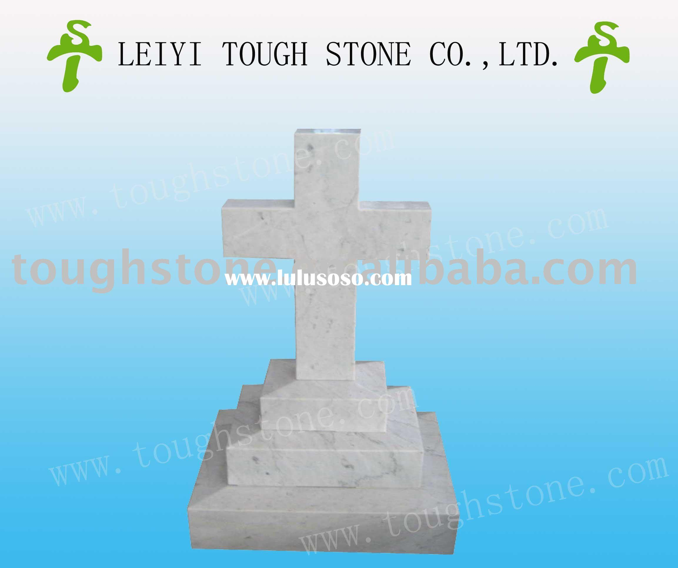 WHITE MARBLE CELTIC CROSS TOMBSTONES