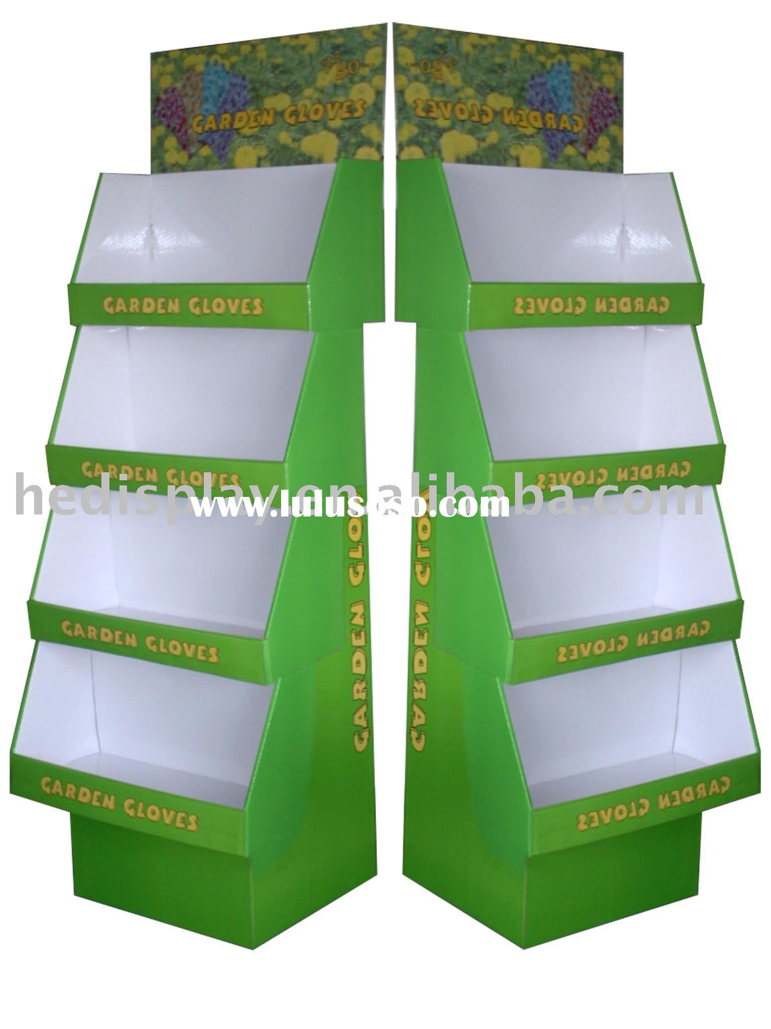 corrugated floor display stand with 4 trays
