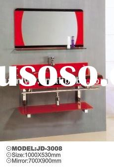 red color bathroom cabinet glass basin countertop