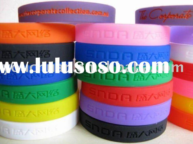 Hot sell Silicon Wristband / Environmental Bracelet Pure Color Wristband Blank Wristband