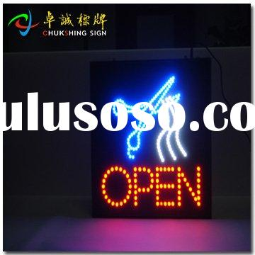super bright LED open sign for hair cut used to fix indoor.