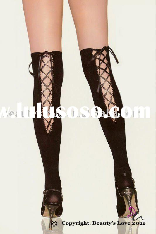 Ladies' Opaque Thigh High stockings with back lace-up