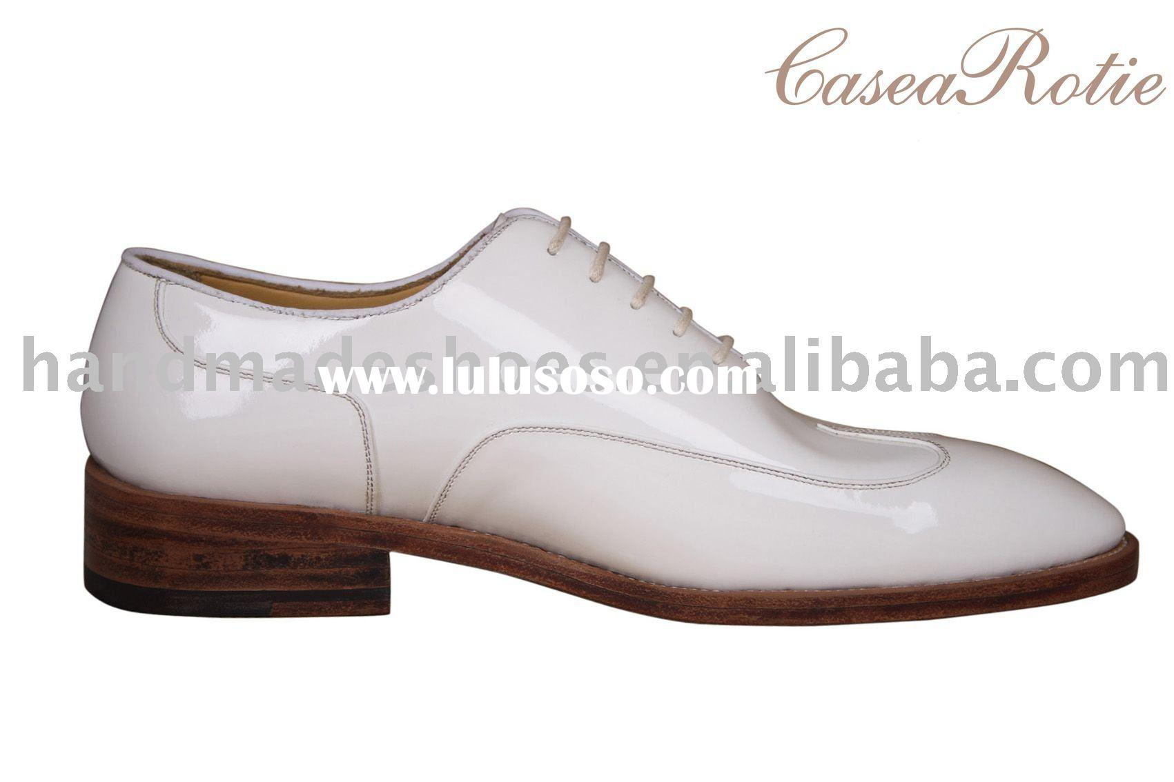 NEW style the leather upper white dress man shoe handmade by Italy technic