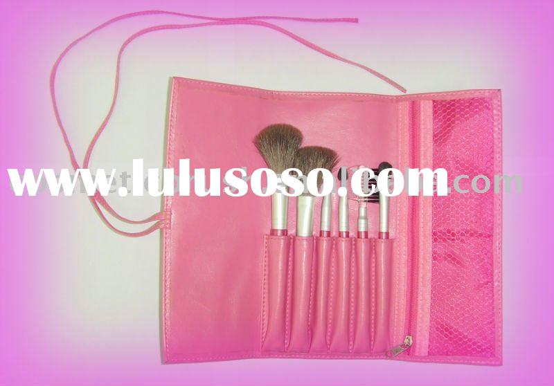 6 pcs mini cosmetic brush set with pink pu pouch