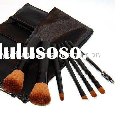 7 Cosmetic Natural Mineral Makeup Brush Kit Case Kabuki