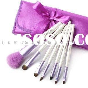 New White 7 pcs Makeup Brush Set into Pink Pouch