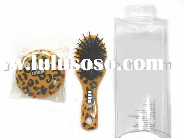 mini hair brush set with leopard print