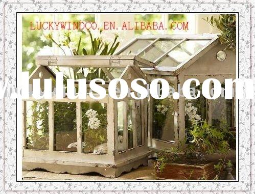 shabby chic wooden garden  greenhouse