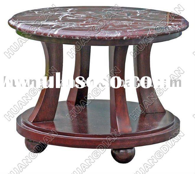 2011 Antique style marble top coffee end table round HDCT003