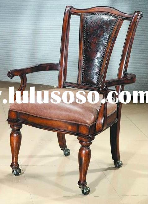 Classic Wood Caverd Leather Armchair With Caster