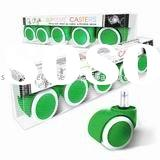 Kit Set of 50mm Hooded PU Office Green Chair Caster in window box