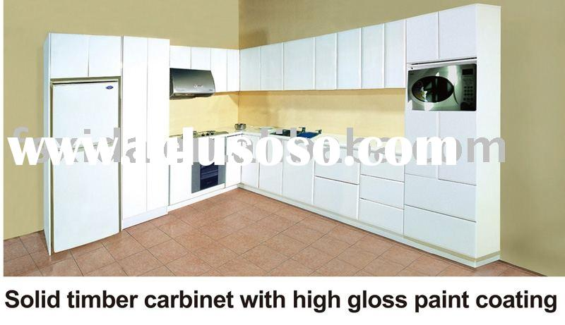 Kitchen cabinet Solid timber cabinet with high gloss paint coating