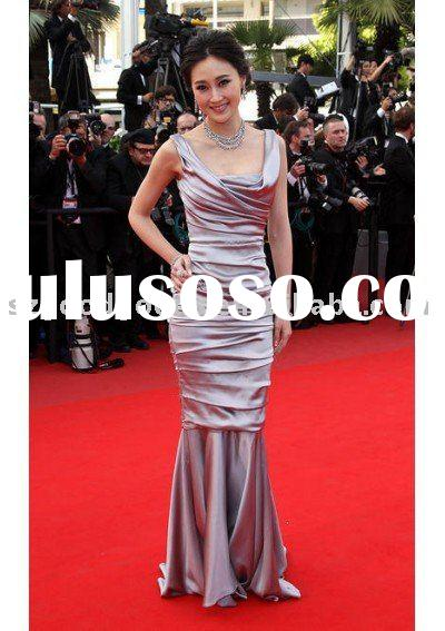 Lin Peng Ruched Ball Grown Scoop Neckline Sleeveless Court Train Satin Celebrity Dresses with Wrinkl