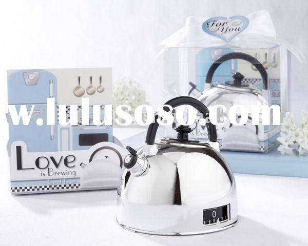 """Wedding gift of """"Love is Brewing"""" Teapot Kitchen Timer Favor"""