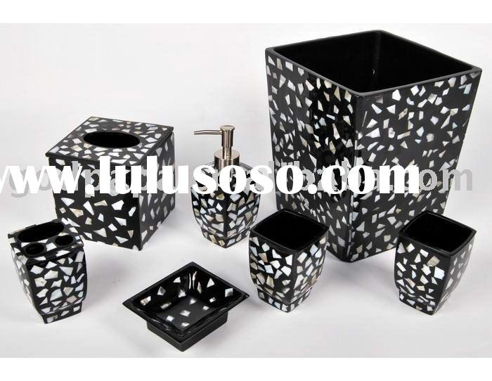 Black and gold bathroom accessories for sale price china for Black bath accessories sets