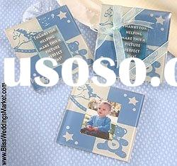 "wedding favor--""Baby shower Blue Photo Plass Coaster"