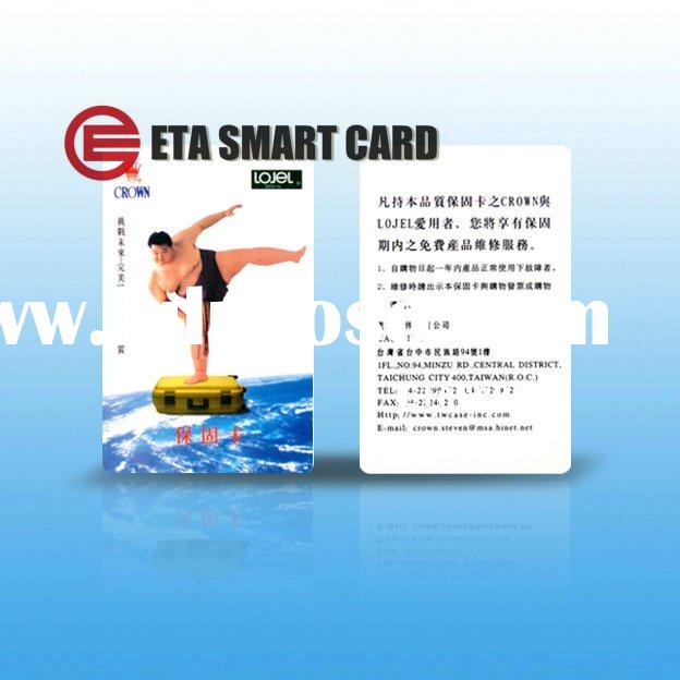 Offer high quality plastic warranty guarantee card