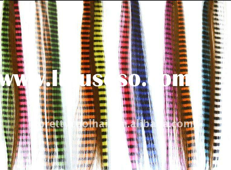 Synthetic i-tips stripe color feather hair extension