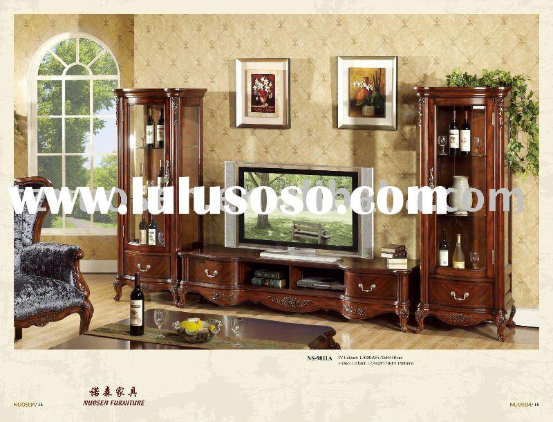 hand carved solid wood bedroom furniture set NS-9811A