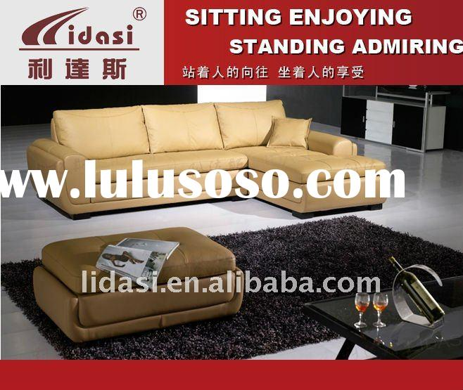 living room leather corner cheap chinese leather sofa with footstool