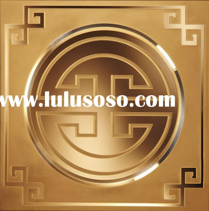 A084 gold rose mirror tile with grooved line pattern