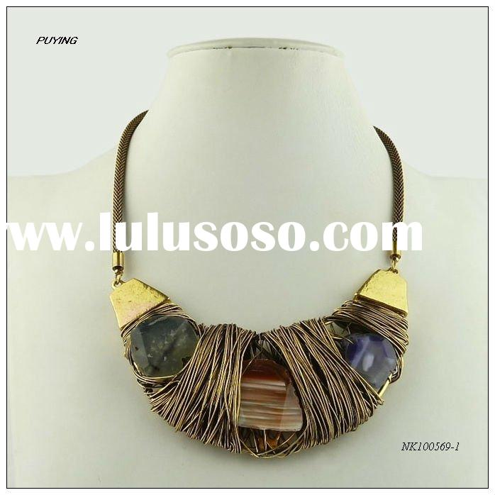 Fashion Handmade Precious Stone Gold Alloy Necklace, Fine New Arrivals Jewelry