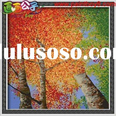 Oil paint by numbers, Diy oil painting by numbers,landscape oil painting,modern oil painting