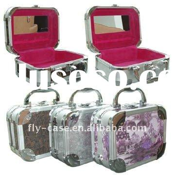 Pink storage aluminum cosmetic case cosmetic box