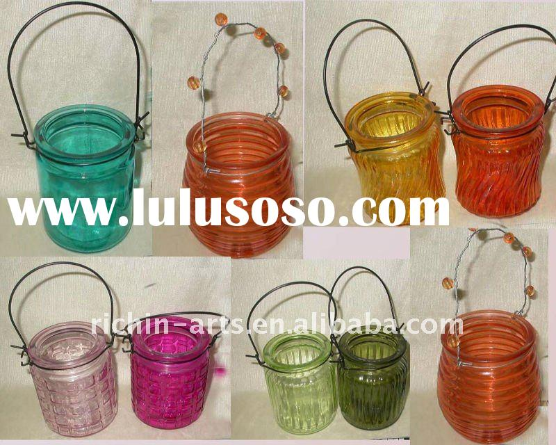 hanging glass candle holder with various design and color
