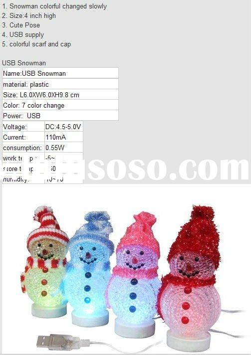 usb christmas snowman decor USB Snowman decoration Scarf and Cap Color Red/blue/white/Yellow