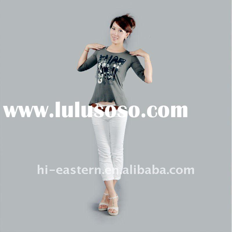 2011 latest Y/D stripe rayon spandex jersey ladies three quarter sleeve T-shirt with drape hem
